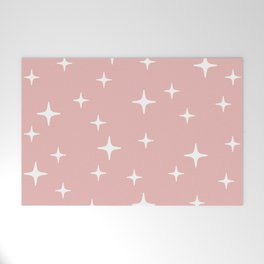 Mid Century Modern Star Pattern 443 Dusty Rose Welcome Mat