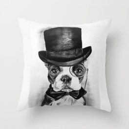 Boston in a Top Hat Throw Pillow