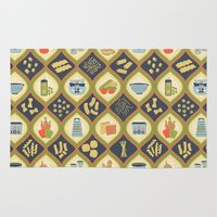 pasta Area & Throw Rugs featuring Pasta Fun Pattern by Noonday Design