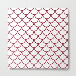 Crimson Fish Scales Pattern Metal Print