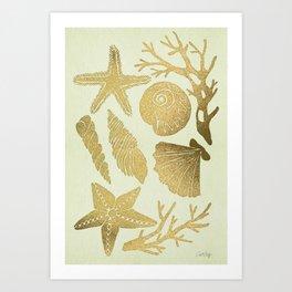 Gold Seashells Kunstdrucke