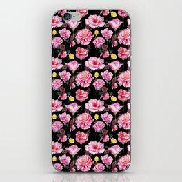 Modern pink green yellow watercolor roses pattern iPhone Skin