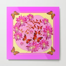 Fuchsia Pink Monarch Butterfly Abstract Metal Print