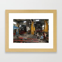 Disassembled steam locomotive Framed Art Print