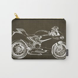 Motorcycle blueprint, Superbike 1299 Panigale, 2015,brown background, gift for men, classic bike Carry-All Pouch