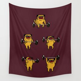 Clean and Jerks Pug Wall Tapestry