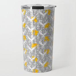 Peace song memories / Headphones, dove, clef and rose pattern Travel Mug