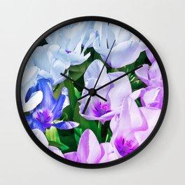 Blue Indigo Tulips Wall Clock