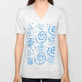 Abstract Blue Squigglisciousness Unisex V-Neck
