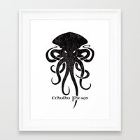 cthulhu Framed Art Prints featuring Cthulhu by Hans Mills