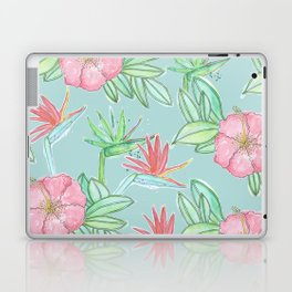 Tropical Flowers Soft Blue Background Laptop & iPad Skin