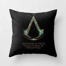 Assassins creed symbol and skyrim lexicon mashup Throw Pillow