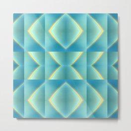 Green Blue Metallic Geometric Pattern Metal Print