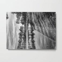Lakeside View - Black & White Metal Print