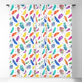 Rainbow Feathers White Ground Blackout Curtain
