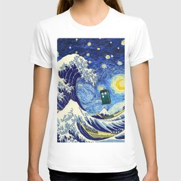 flying tardis in starry night T-shirt