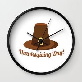 Happy Thanksgiving Day Hat Design Wall Clock