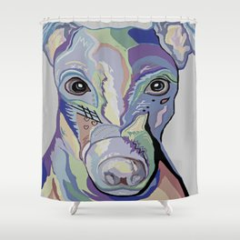 Greyhound in Denim Colors Shower Curtain