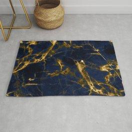 Indigo Blue Marble with 24-Karat Gold Veins Rug