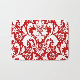 Paisley Damask Red and White Pattern Bath Mat