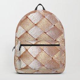 Vintage elegant coral faux gold satin weaved pattern Backpack