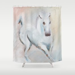 white horses Shower Curtain