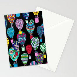 Hot Air Balloons Black Stationery Cards