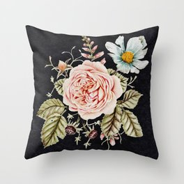 Rose and Foxglove Moody Watercolor Throw Pillow