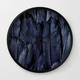 Mystic Black Feather Close Up Wall Clock