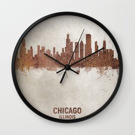 Chicago Illinois Rust Skyline Wall Clock
