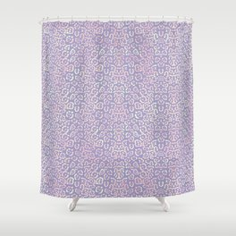 Lavender Purple Cat Print Animal Pattern with a Blush of Pink Shower Curtain