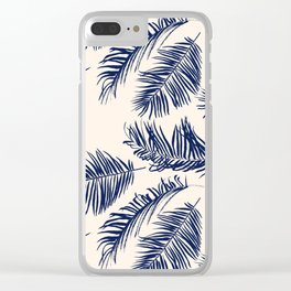 Blue Palm Leaves Pattern Clear iPhone Case