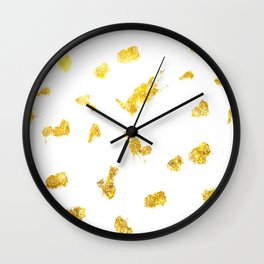 Gold glitter metallic spots pattern Wall Clock