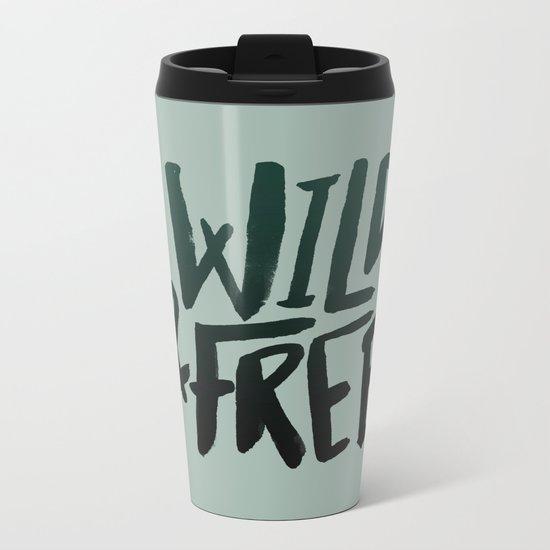 Wild & Free x Olive Green Metal Travel Mug