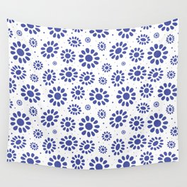 Pretty Blue White Abstract Floral Pattern Wall Tapestry