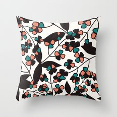 Tangled spring branches and flowers Throw Pillow