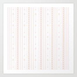 Pastel brown white bohemian arrows zigzag geometrical Art Print