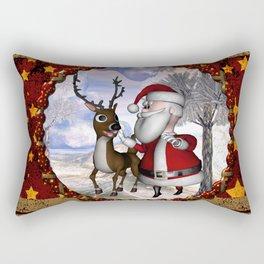 Santa Claus with reindeer Rectangular Pillow