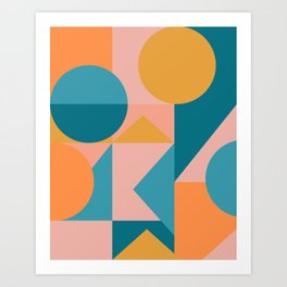 Colorful Geometric Abstraction in Blue and Orange Art Print
