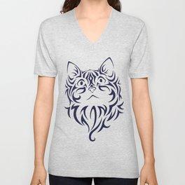 Front Facing Cat Kitten Face Stencil Unisex V-Neck