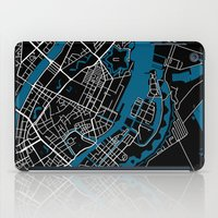 copenhagen iPad Cases featuring Copenhagen city map black colour by MCartography