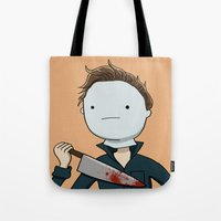 michael myers Tote Bags featuring Adventure Time with Michael Myers by Tinsel Pencil
