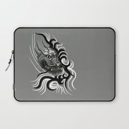 Dragon in Tattoostyle , black - white and grey Design Laptop Sleeve