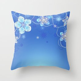 Blue background with silver flowers Throw Pillow