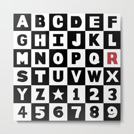 """Alphabet With Red """"R"""" Metal Print"""