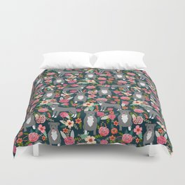 Pit Bull Terrier florals must have dog art pet friendly gifts for pit bull owners cute illustration  Duvet Cover