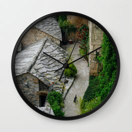 Old town and a cat Wall Clock