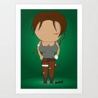 lara croft Art Prints featuring Minimalist lara croft by Monkey graphisme