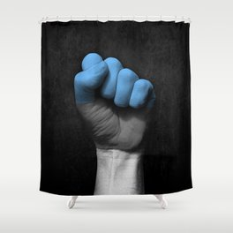 Estonian Flag on a Raised Clenched Fist Shower Curtain