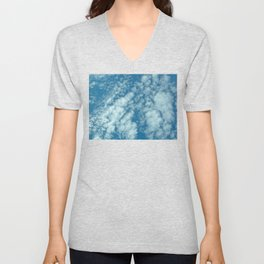 Fluffy clouds in a blue sky Unisex V-Neck